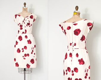 vintage 1950s dress / 50s rose print cocktail dress / silk wiggle (small s)
