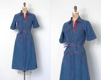 vintage 1970s dress / 70s denim dress / cotton (extra-small xs)