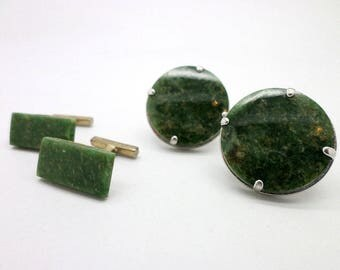 2 Pairs Vintage Green Stone and Sterling Silver Cufflinks Cuff Links Great Gift Idea