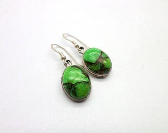Simple and Sweet Green Gaspeite Stone Sterling Silver Dangle Earrings Great Color!