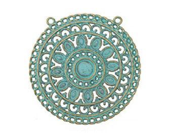 Patina Blue/Green Brass Filigree Pendant (53mm)