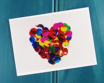 Confetti Heart Greeting Card | Blank Card | Thank You Card | Birthday Card |