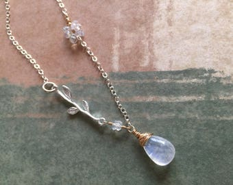 Rainbow Moonstone Sterling Branch Mixed Metal Necklace