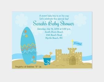 Surf Board Beach Sand Castle Boy Baby Shower Invitation DIGITAL Printable File bs-014