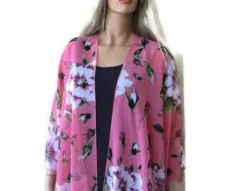 Coral -Boho Kimono- Gorgeous floral print -Lagenlook style-Kimono cardigan-beach pareo- Oversize kimono-Chiffon summer collection