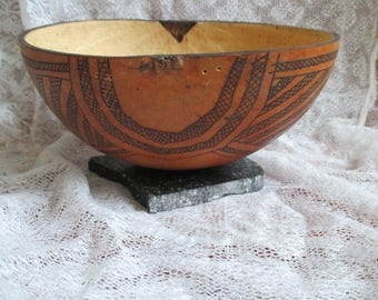 Small gourd bowl pyrography handmade in native american style decorative bowl gourd art vintage