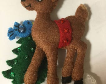 Bucilla Felt DEER Ornament From The Santa Stop Here Collection