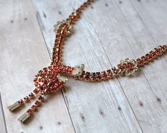 Vintage Red Rhinestone Necklace Earrings Set, Knotted Rhinestone Necklace