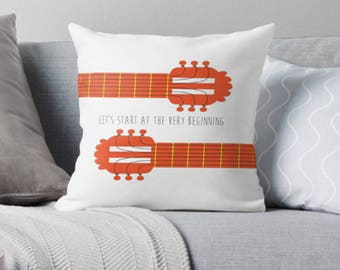 Sound of music guitar pillow - Decorative THROW PILLOW, CUSHION cover, pillow, gift, musical theatre