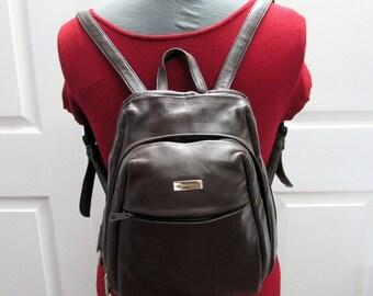 Vintage Wilsons Leather Pelle Studio Dark Brown Leather Backpack Purse