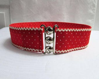 Vintage 1950s Style Rockabilly Red and White Polka Dots Fabric Wide Cinch Belt Small