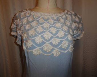 Vintage Dress Blue Shift Soutache Braid Grace Taylor