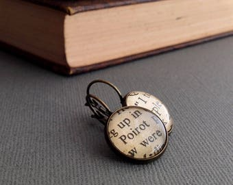 Agatha Christie Fan Earrings, Book Jewellery, Detective Novels, Hercule Poirot and Miss Marple Gift, Bronze, Book Jewelry