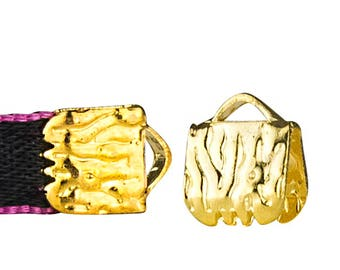 16pcs.  6mm  (1/4 inch)  Gold Ribbon Clamp End Crimps - Artisan Series