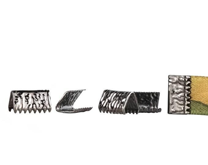 500pcs. 10mm or 3/8 inch *NO LOOP* Gunmetal / Black Chrome / Gray  Ribbon Clamp End Crimps - Artisan Series