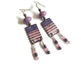 Enamel Drop Dangle Earrings Purple and Pink Lampwork and Enamel Drop Earrings Boho Long Dangle Earrings
