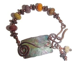 Artisan Style Bracelet Boho Copper and Lampwork Bracelet Organic Style B97