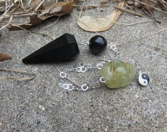 Black Tourmaline pendulum  Jet bead Sterling chain and a Prehnite bead on the end  Yin Yang charm All Sterling