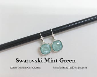 Mint Green Swarovski Earrings, 12mm Cushion Cut Mint Green Crystals, Set In Silver Plate Setting With Sterling Lever Back Ear Wires