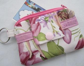 Zipper Wallet Pouch Key Magical Garden Fairies Card holder -