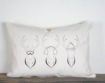 "14""x24"" Deer Trio Lumbar Pillow Cover 