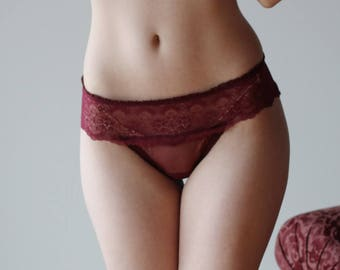 womens sheer panties with lace trim - CUPID - mesh lingerie range - made to order