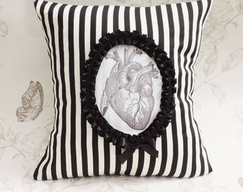 Gothic victorian pillow- anatomical heart- cameo pillow- goth cushion-  jumbo stripes-  macabre-home decor-halloween