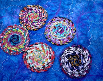 MarveLes SET of FIVE Twisted Fabric COASTERS in multi-colored brights