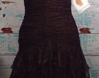SALE NEW Vtg 80s Jessica McClintock Dark Brown Lace Prom Dress Strapless 6 S Small Nwt New with tags