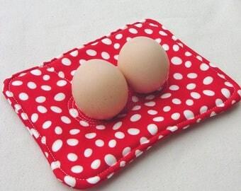Egg Nest - EggNest - Egg Holder - Cooking Prep - Egg Decor - Farm Kitchen - Quilted Egg Nest - Red White - Chicken Egg Decor - Kitchen Gift
