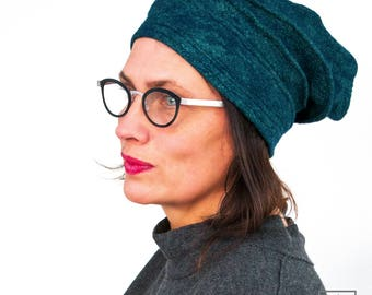 Blue Green Felted bonnet with silky shine  - Woman Felt Hat in smooth Merino Wool & Embroidery - OOAK Headdress textile art from Paris