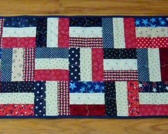 Quilted Americana Patriotic Table Runner - Reversible