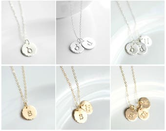 Initial Jewelry for Moms - Circle Initial Necklace - 1 2 3 4 5 Letter Initial Necklace Sterling Silver - Gold Initial Disc Necklace Dainty