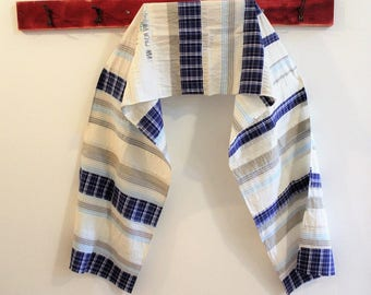 Upcycled Cotton Shirt Scarf,  Patchwork Wrap, Blue Natural, Pojagi scarf,  Boro Scarf