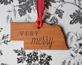 VERY MERRY Engraved Nebraska Ornament