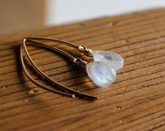 ON SALE Gold Rainbow Moonstone Hook Earrings - Wire Wrapped - 14K Gf