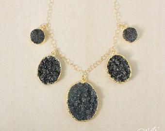50% OFF SALE - Gold Oval Black Druzy Bib Necklace - Statement Necklace - Black Druzy Quartz