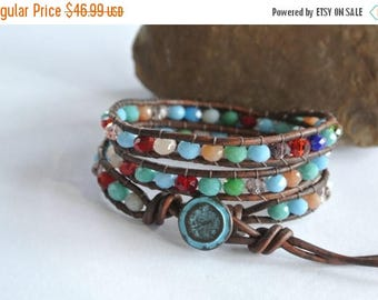 50% OFF SALE Circus Ole Crystal Beaded Leather Wrap Bracelet