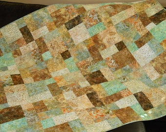 Handmade Quilts for Sale, Modern Batik Lap Quilt in Shades of Aqua Blue Green Gold and Brown, Quilted Sofa Throw, Bed Coverlet, Homemade