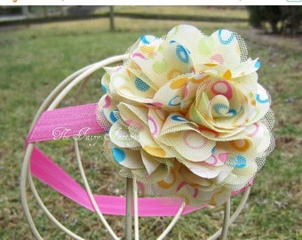 Butter Yellow Hot Pink Turquoise Polka Dot Satin and Tulle Flower Puff Stretchy Headband or Hair Clip - Baby Headband - Toddler Girl