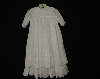 vintage christening gown white eyelet long baby baptismal gown Toddle Tyke 2T