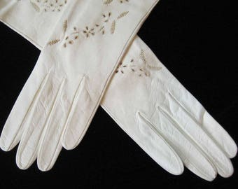 Vintage Embroidered Cream Italian Kid Leather Gloves