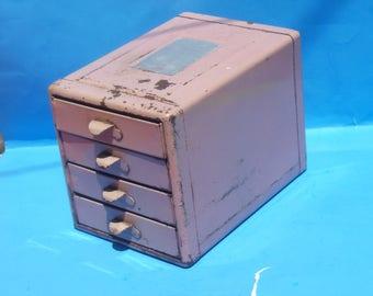 Industrial File-A-Way Mauve Cabinet / Parts Box