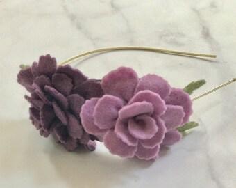 Purple and Dusty Purple Flower Headband