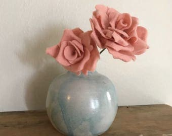 Pink Felt Rose Flower Bouquet // Modern Blue and White Pot // Holiday Romantic Housewarming Gift for Her // Kitchen Front Hall Home Decor