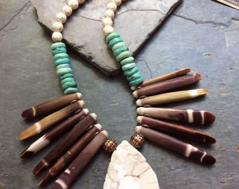 OOAK Tribal Turquoise, Sea Urchin, Magnesite and Copper Statement Necklace