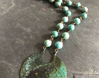 Verdigris Patina Medallion and Turquoise Long Necklace