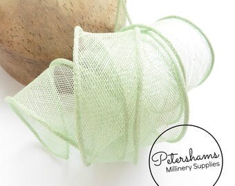 Hand Rolled Sinamay Ribbon Trim for Millinery, Hat Making & Fascinators - Mint Green
