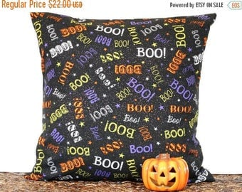 Christmas in July Sale Halloween Pillow Cover Cushion Boo Black Orange Purple Lime Green White Stars Glitter Decorative 18x18