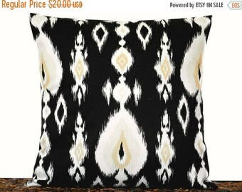 Christmas in July Sale Black Ikat Pillow Cover Cushion White Sand Beige Decorative 16x16